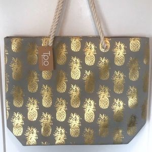 Handbags - Restocked! Gray w/Gold Pineapples Beach Tote!